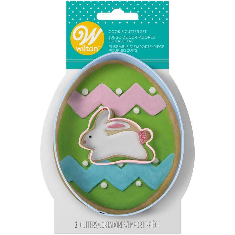 Egg and Mini Bunny Cookie Cutter Set, 2-Piece