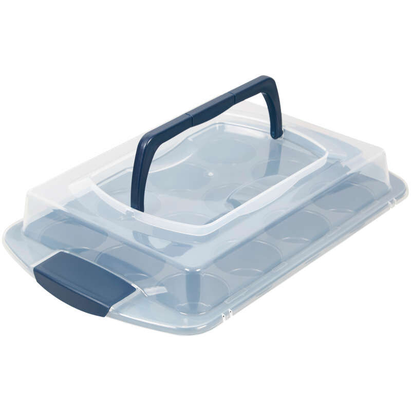 Diamond-Infused Non-Stick Navy Blue Muffin and Cupcake Pan, 12-Cup image number 3