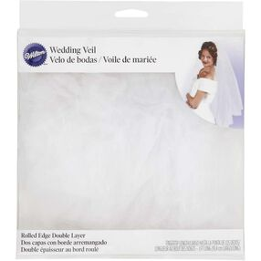 White Rolled Edge Double Layer Wedding Veil