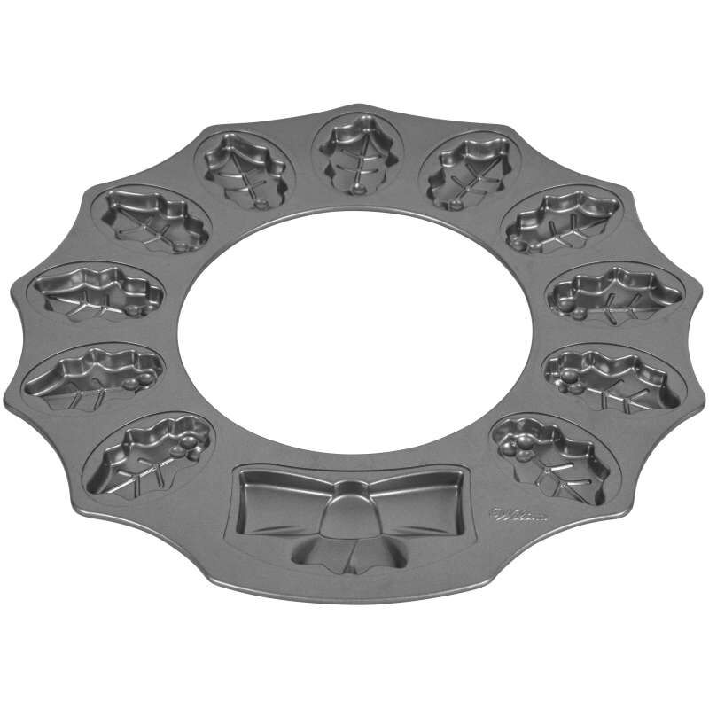 Non-Stick Holly Wreath Shaped Cookie Pan, 12-Cavity image number 1