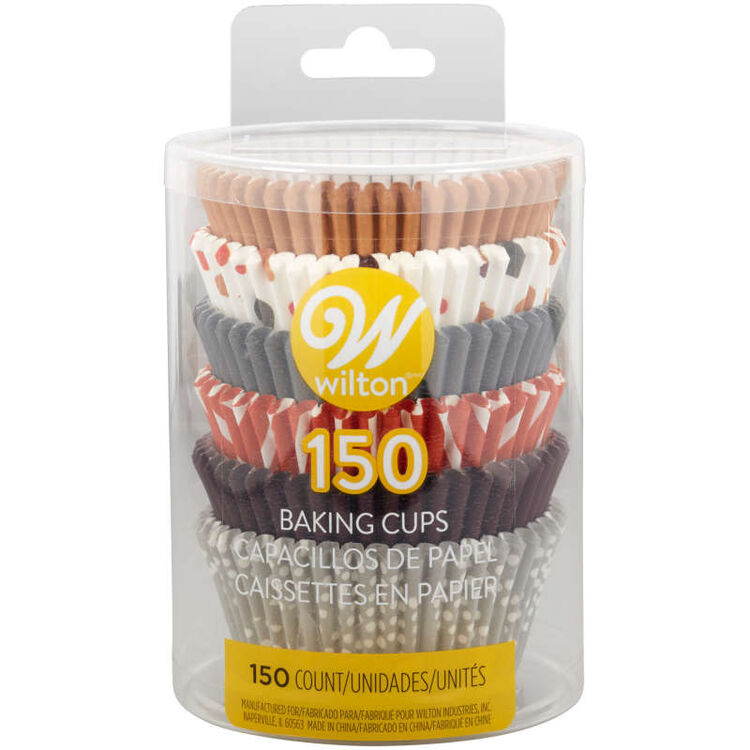 Brown, Orange, Grey and Neutral Print Standard Baking Cups, 150-Count