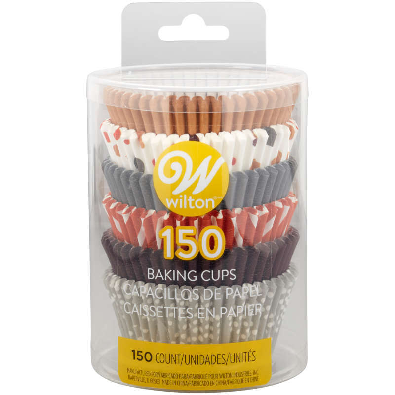 Brown, Orange, Grey and Neutral Print Standard Baking Cups, 150-Count image number 3
