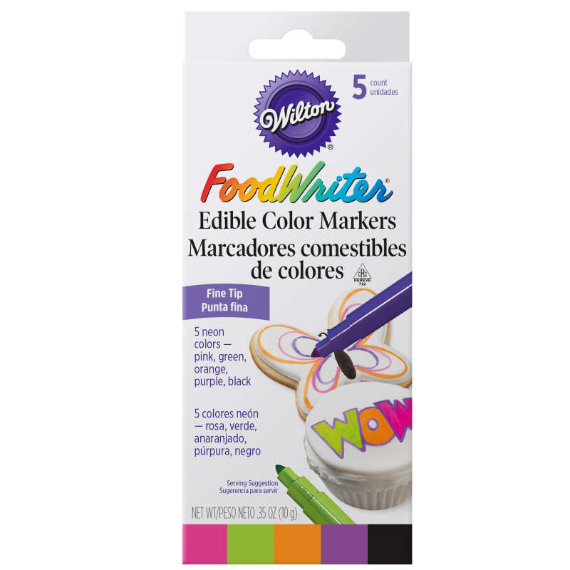 FoodWriter Neon Colored Edible Markers, 5-Piece image number 1
