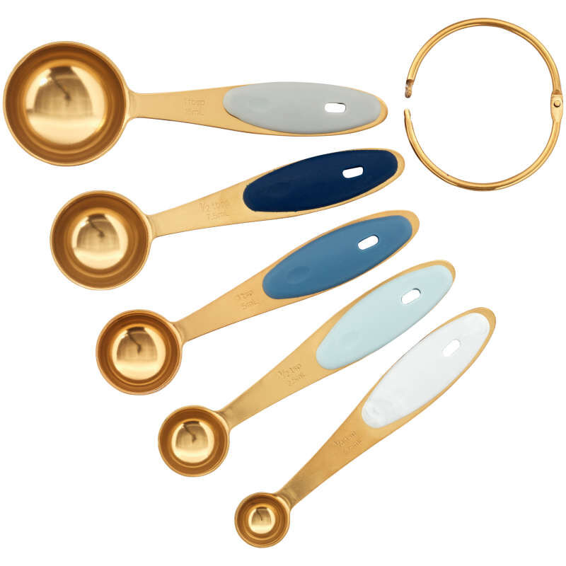 Navy and Gold Nesting Measuring Spoons with Snap-On Ring, 5-Count image number 1