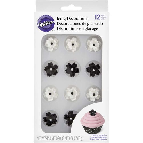 Wilton Black & White Flower Candy Decorations