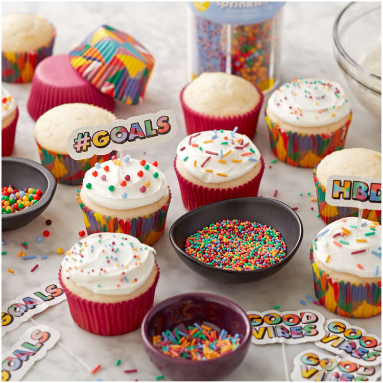 Cupcakes with Bright Sprinkles