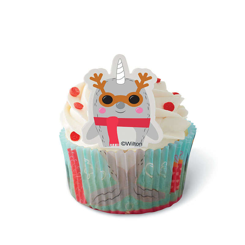 Christmas Narwhal Cupcake Decorating Kit, 24-Count image number 0