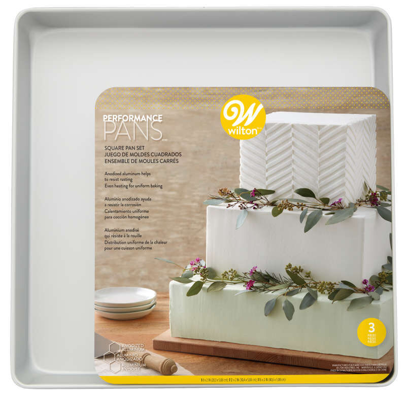 Performance Pans Square Cake Pans Set, 3 Piece -  8, 12 and 16-Inch Cake Pans image number 3