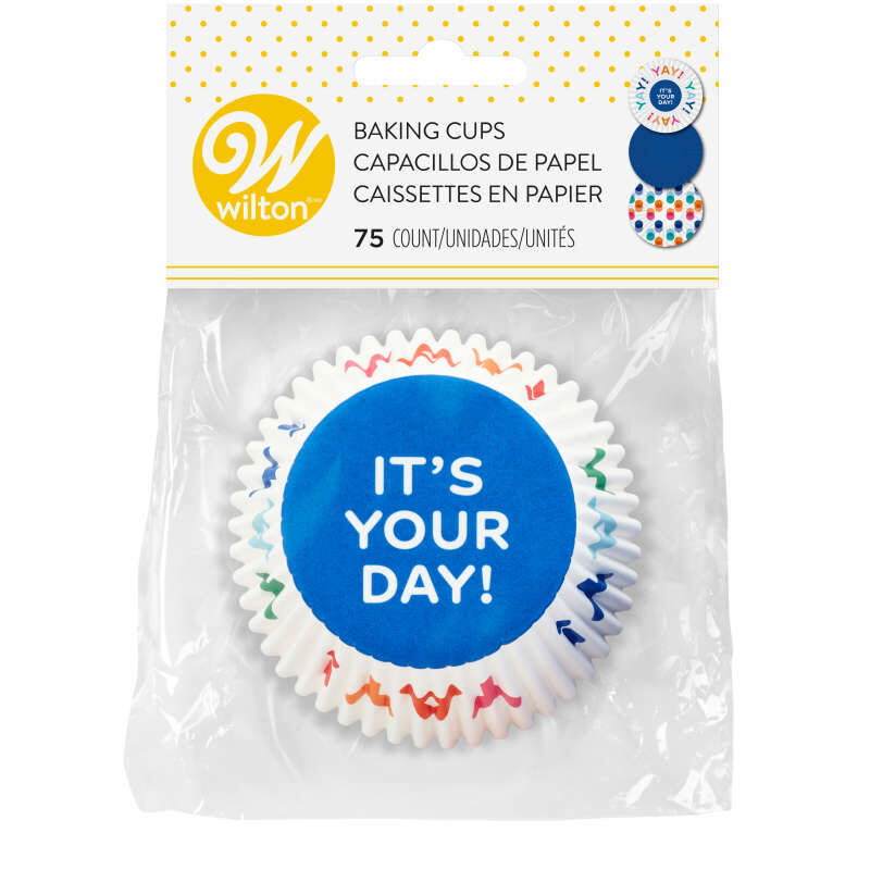 Blue, Polka Dot and It's Your Day Baking Cups, 75-Count image number 1