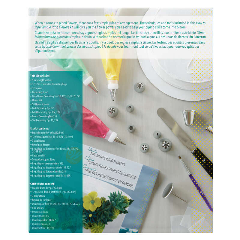 How to Pipe Simple Icing Flowers Cake Decorating Kit, 68-Piece image number 2