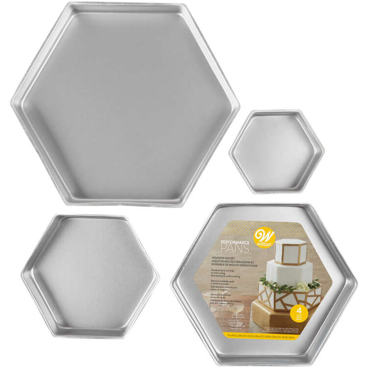 Four Different Sized Hexagon Cake Pans in Packaging