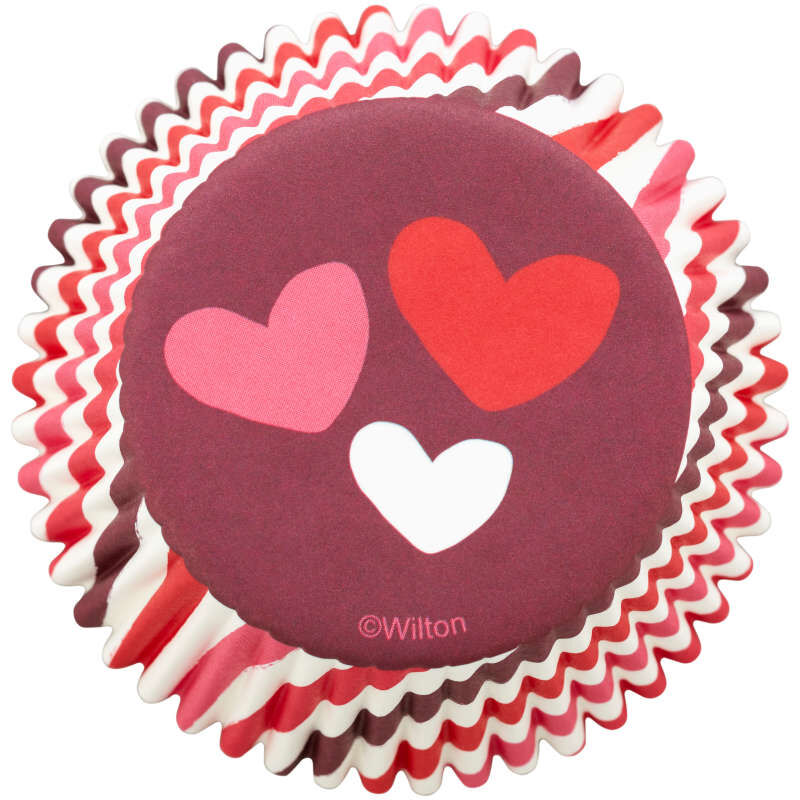 Stripes and Hearts Cupcake Liners, 75-Count image number 0