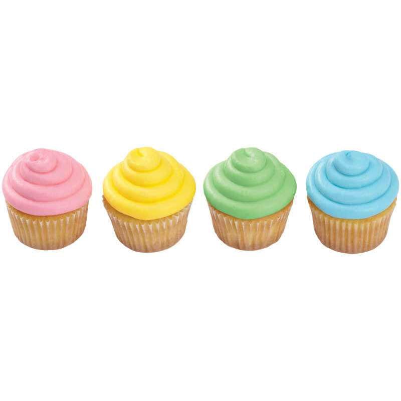 Four Cupcakes Decorated with Pastel Gel Food Coloring image number 2