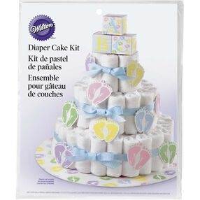Diaper Cake Kit in packaging, shows finished product