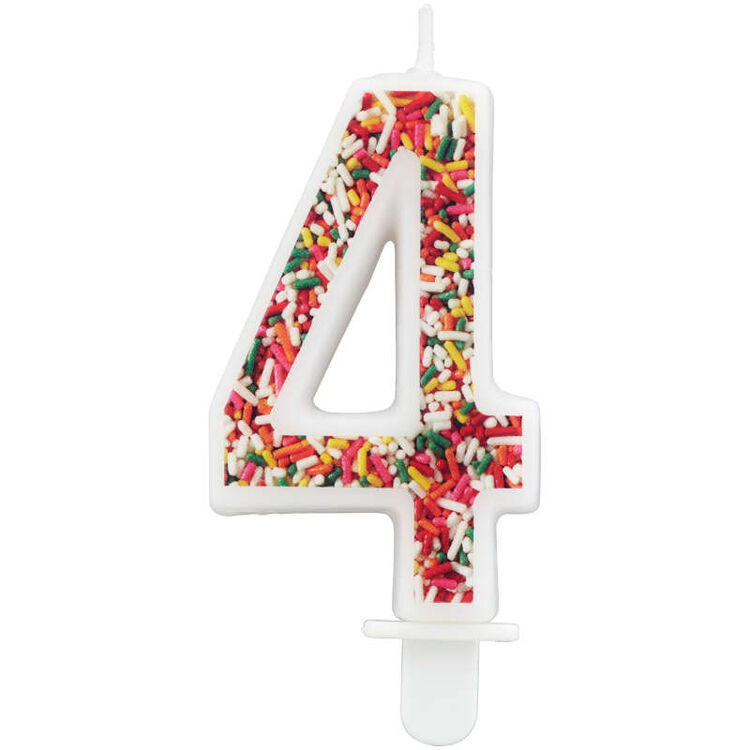 Sprinkle Pattern Number 4 Birthday Candle, 3-Inch