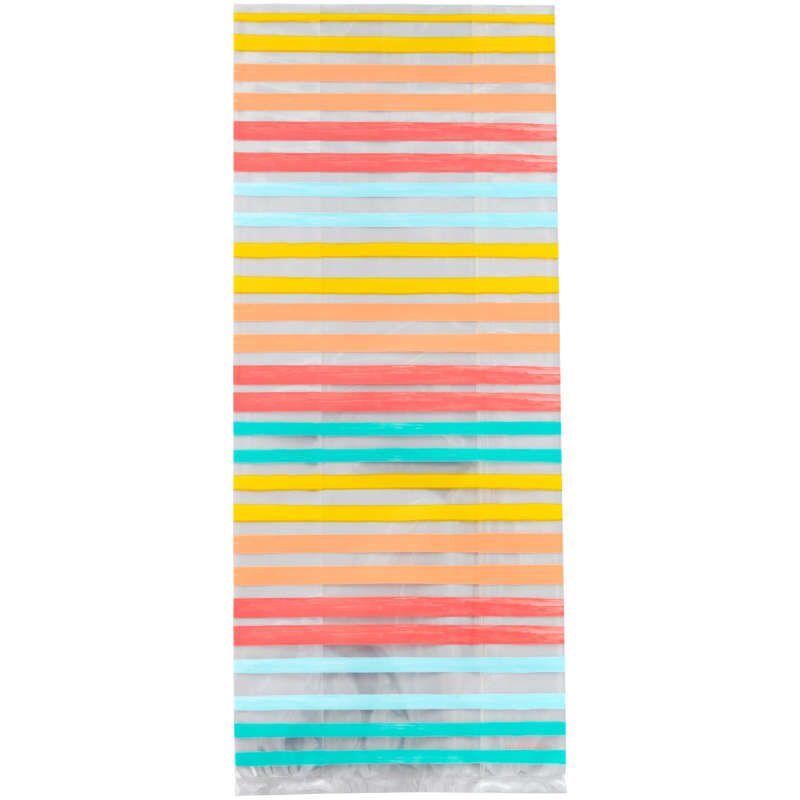 Yellow, Orange, Red and Blue Striped Treat Bags and Ties, 20-Count image number 1