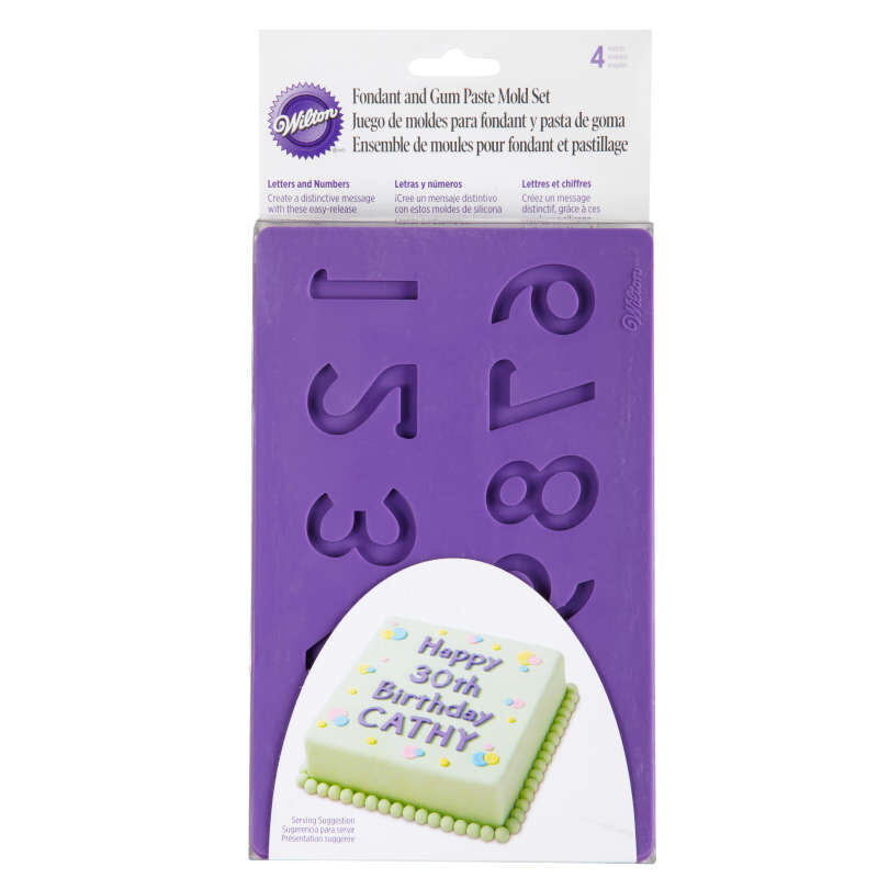 Silicone Letters and Numbers Fondant and Gum Paste Molds, 4-Piece - Cake Decorating Supplies image number 1
