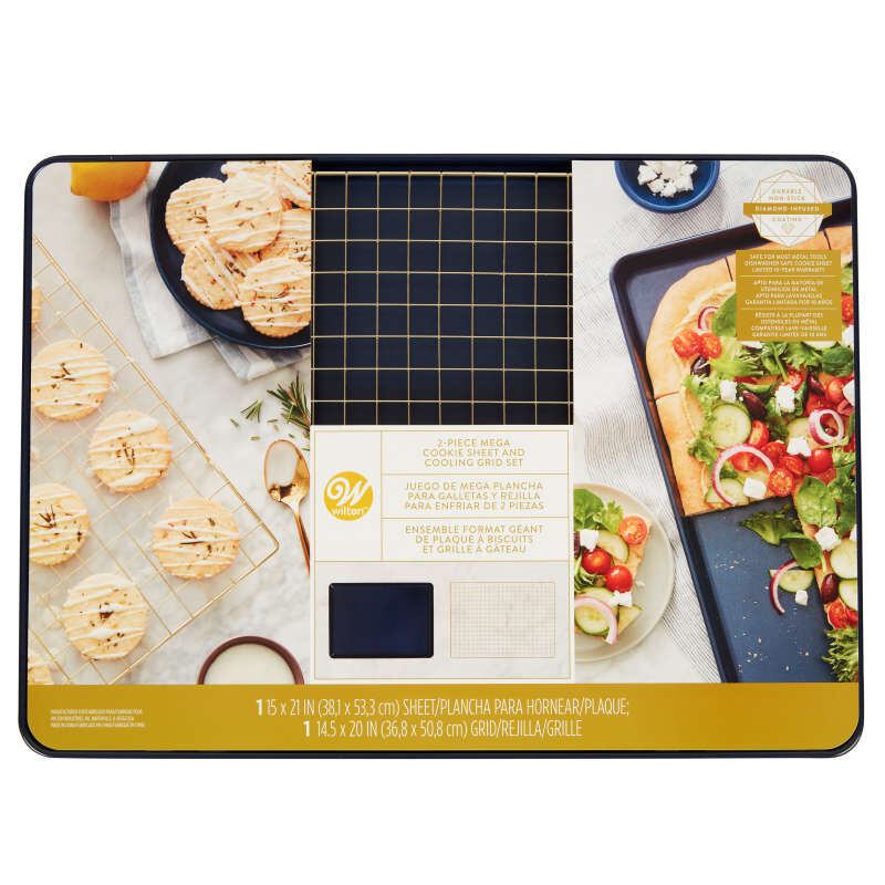 Non-Stick Diamond-Infused Navy Blue Mega Cookie Sheet with Gold Cooling Grid Set image number 4