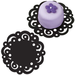 4 in. Black Swirl Doilies