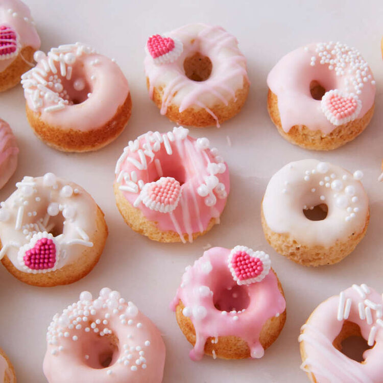 Cake Donuts with Pink Icing and Mini Candy Hearts