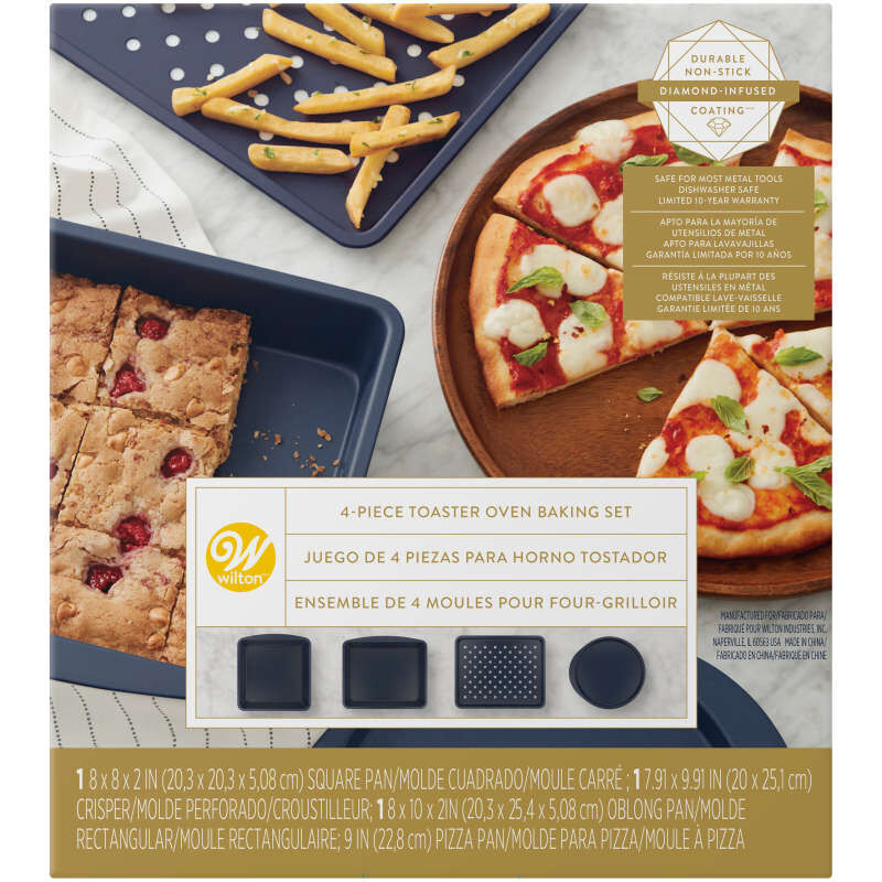 Diamond-Infused Non-Stick Navy Blue Toaster Oven Baking Set, 4-Piece image number 0