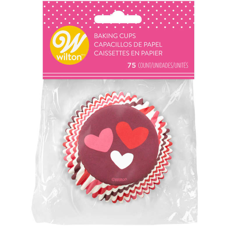 Stripes and Hearts Cupcake Liners, 75-Count image number 1
