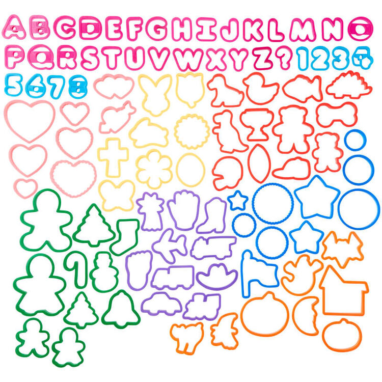Alphabet, Numbers and Holiday Plastic Cookie Cutters, 101-Piece Set