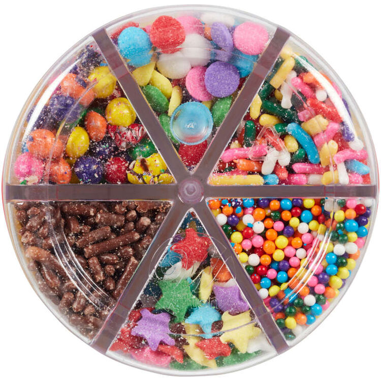 6-Cell Rainbow Sprinkles Mix with Turning Lid, 5.92 oz.