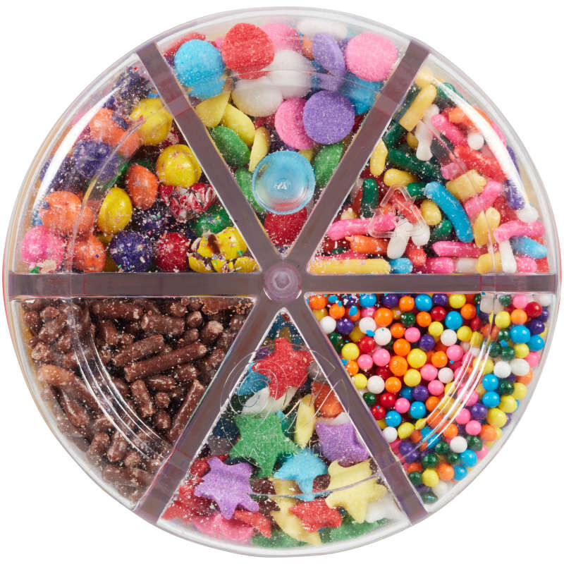 6-Cell Rainbow Sprinkles Mix with Turning Lid, 5.92 oz. image number 1