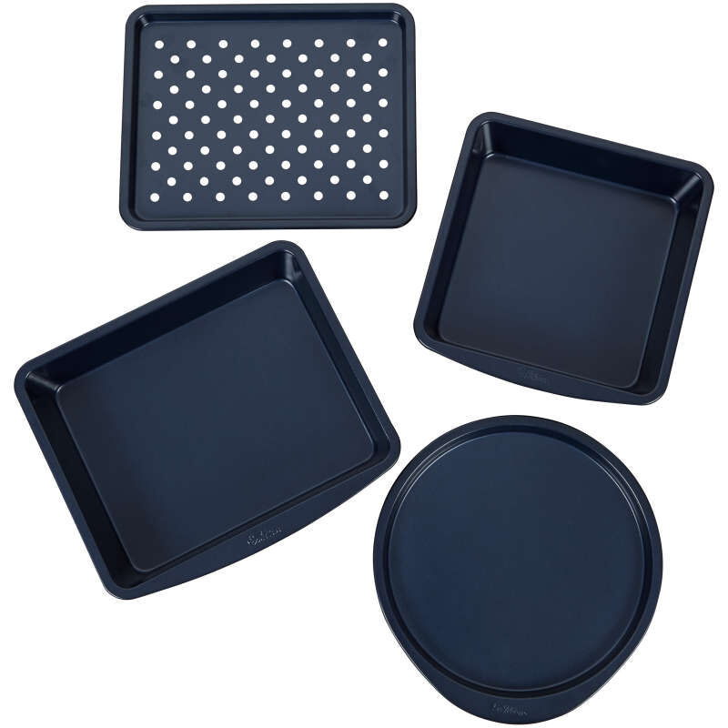 Diamond-Infused Non-Stick Navy Blue Toaster Oven Baking Set, 4-Piece image number 1