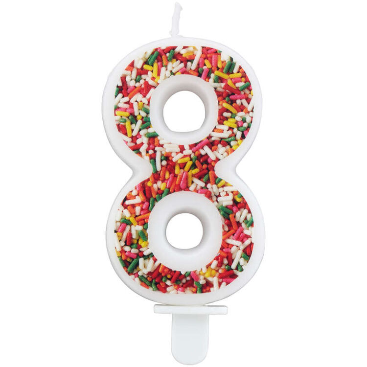 Sprinkle Pattern Number 8 Birthday Candle, 3-Inch