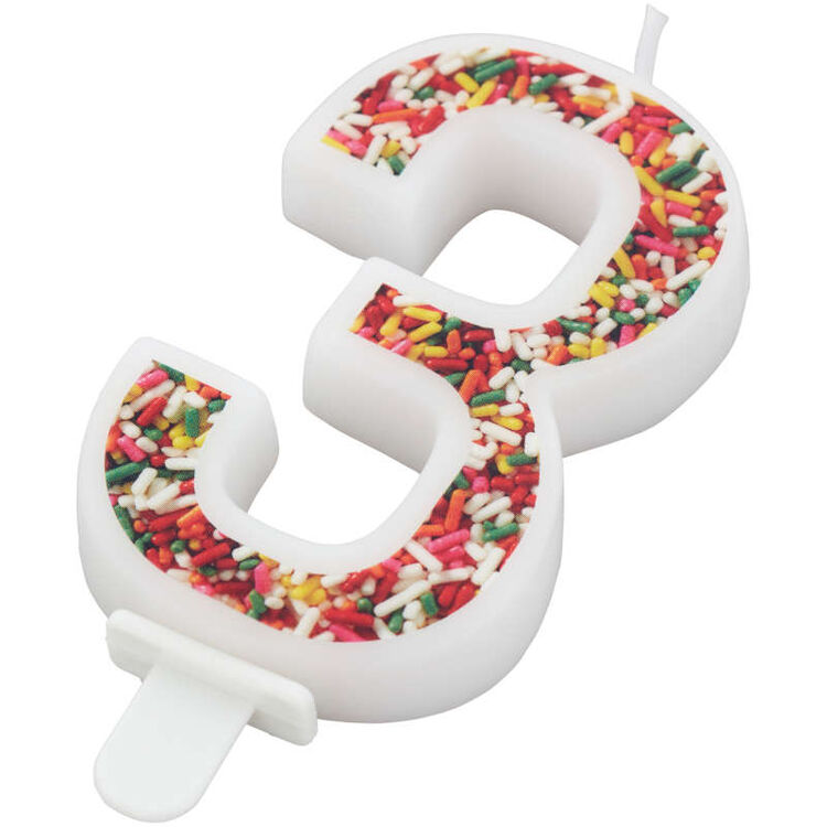 Sprinkle Pattern Number 3 Birthday Candle, 3-Inch