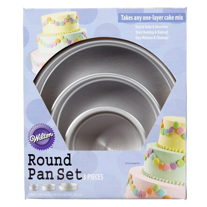 Aluminum Round Cake Pans, 3-Piece Set with 8-Inch, 6-Inch and 4-Inch Cake Pans image number 1