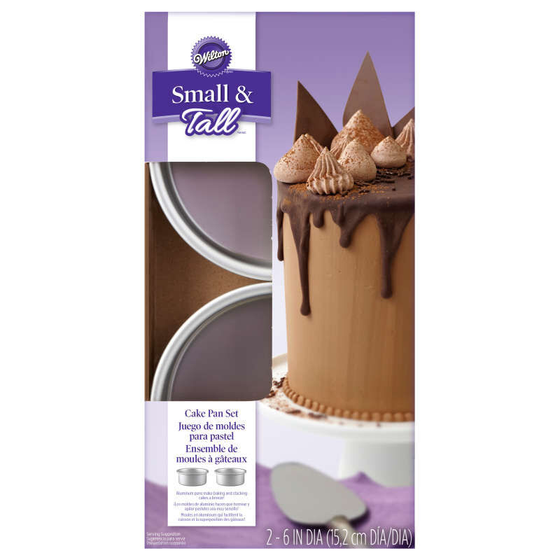 Small and Tall 6 x 2-Inch Aluminum Cake Pan Set, 2-Piece image number 1