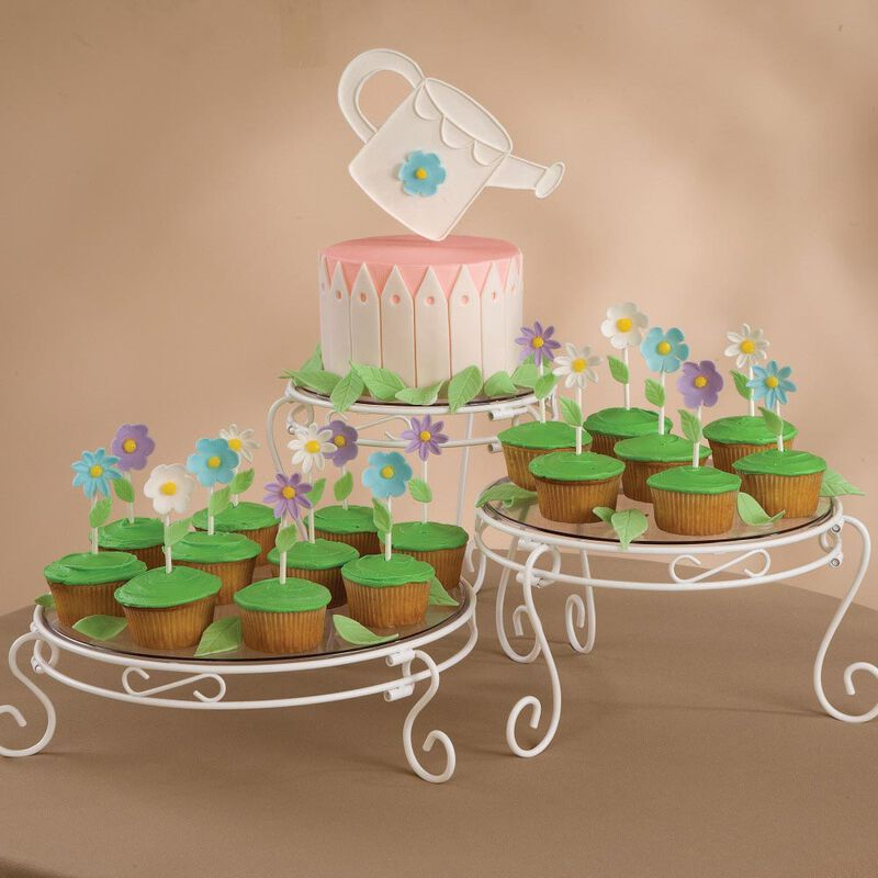 White Scrolled Cake and Dessert Stand Set - Wedding Cake Display image number 3