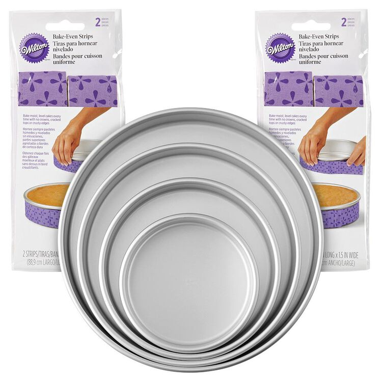 Bake-Even Strips and Round Cake Pan Set, 8-Piece - 6, 8, 10, and 12 x 2-Inch Aluminum Cake Pans