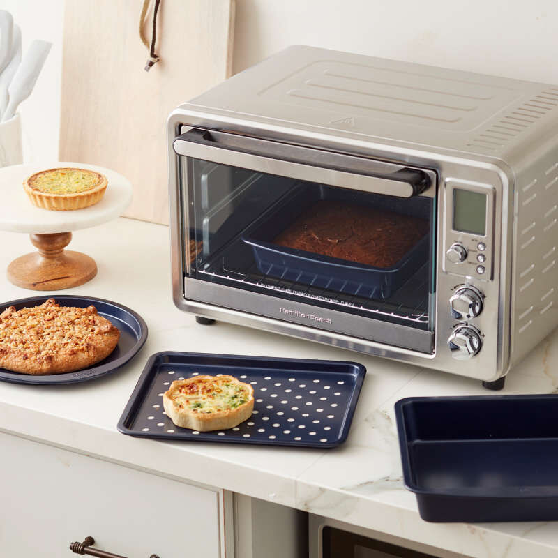 Diamond-Infused Non-Stick Navy Blue Toaster Oven Baking Set, 4-Piece image number 4