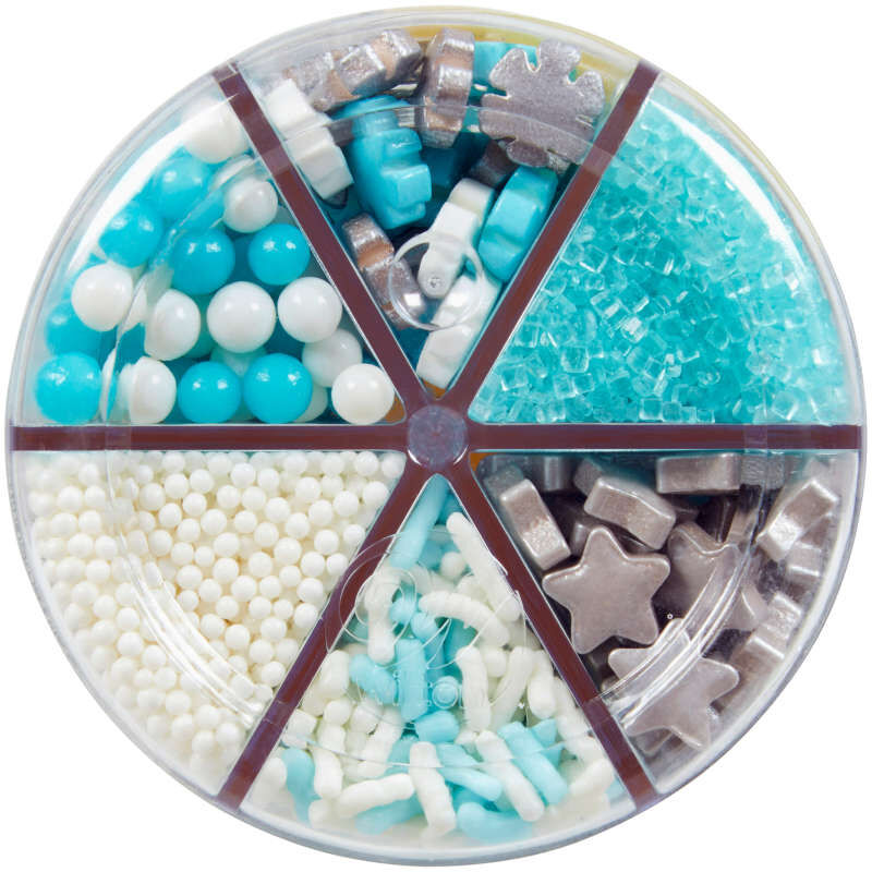 6-Cell Silver and Blue Holiday Sprinkles, 6.77 oz. image number 1