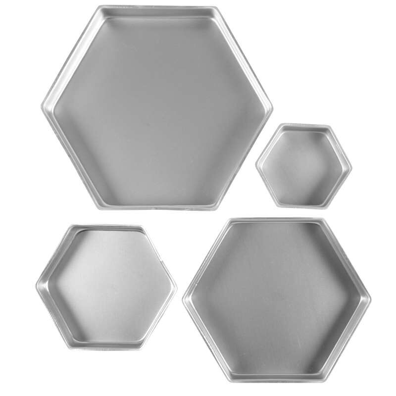 Four Different Sized Hexagon Cake Pans Out of Packaging image number 0