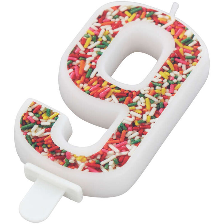 Sprinkle Pattern Number 9 Birthday Candle, 3-Inch