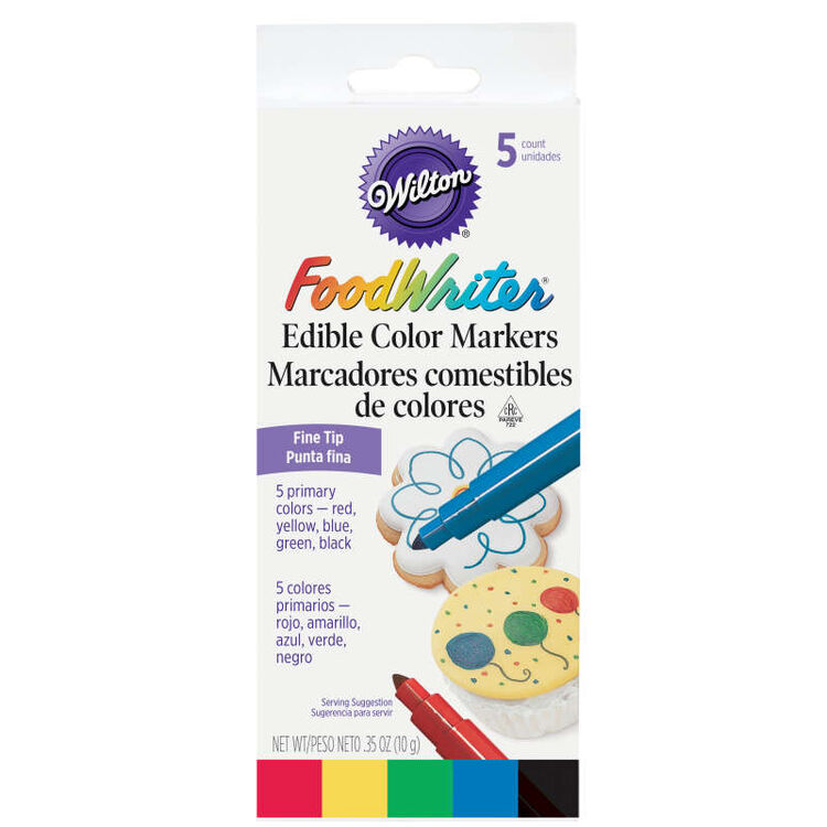 FoodWriter Color Fine-Tip Edible Markers, 5-Piece
