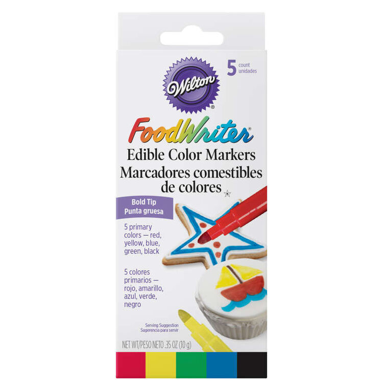 FoodWriter Color Bold Tip Edible Food Markers, 5-Piece