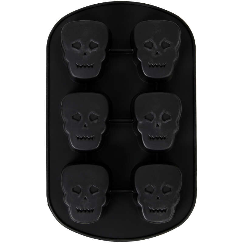 Halloween Skull Non-Stick Silicone Mold, 6-Cavity image number 1