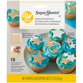 Gold and White Stars Sugar Sheets Edible Paper Decorations, 0.7 oz.