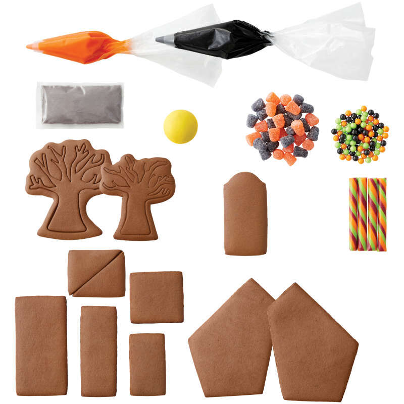 Build It Yourself Chocolate Cookie Halloween House Decorating Kit image number 0