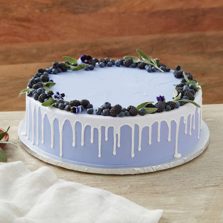 Blue Round Cake with Berry Decorations