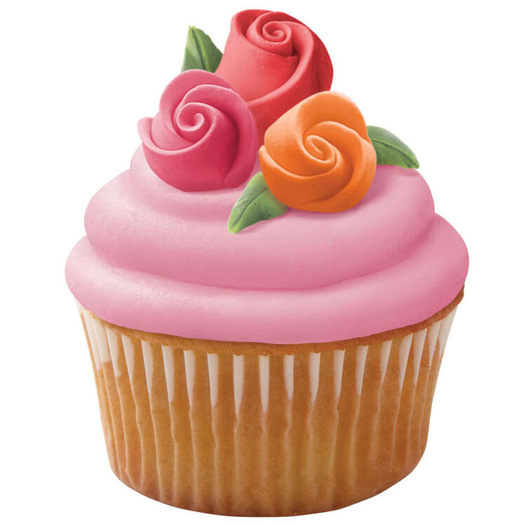 Red, Orange, Pink and Yellow Rose Royal Icing Decorations, 12-Count