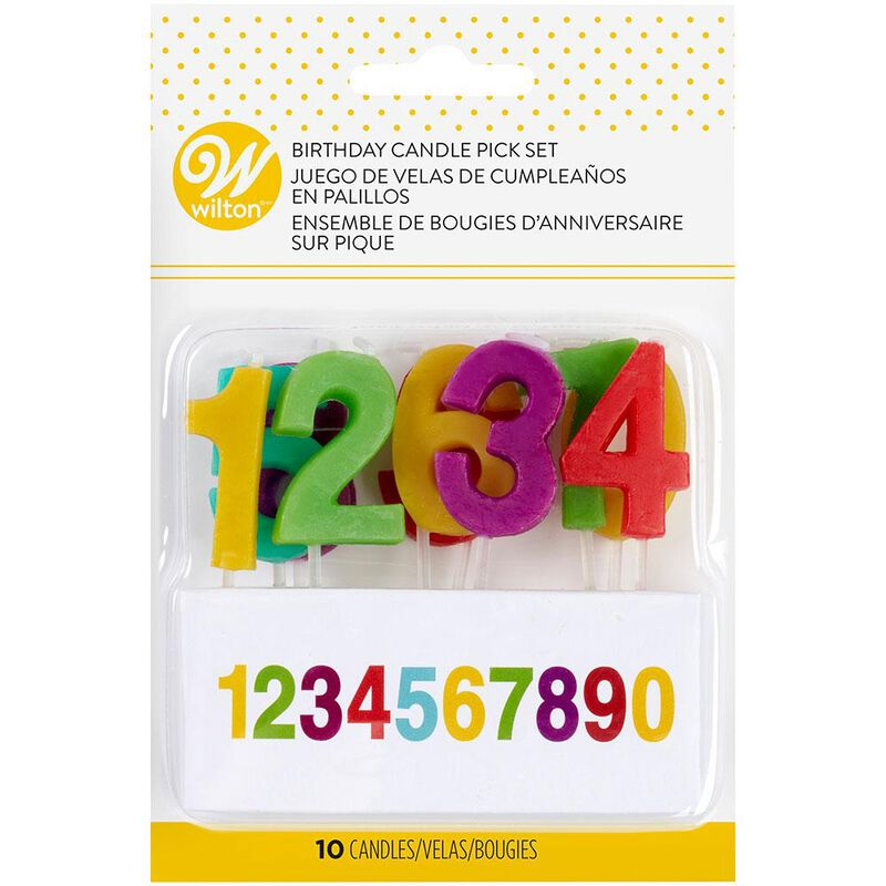 Rainbow Number Birthday Candle Pick Set, 10-Pack image number 1