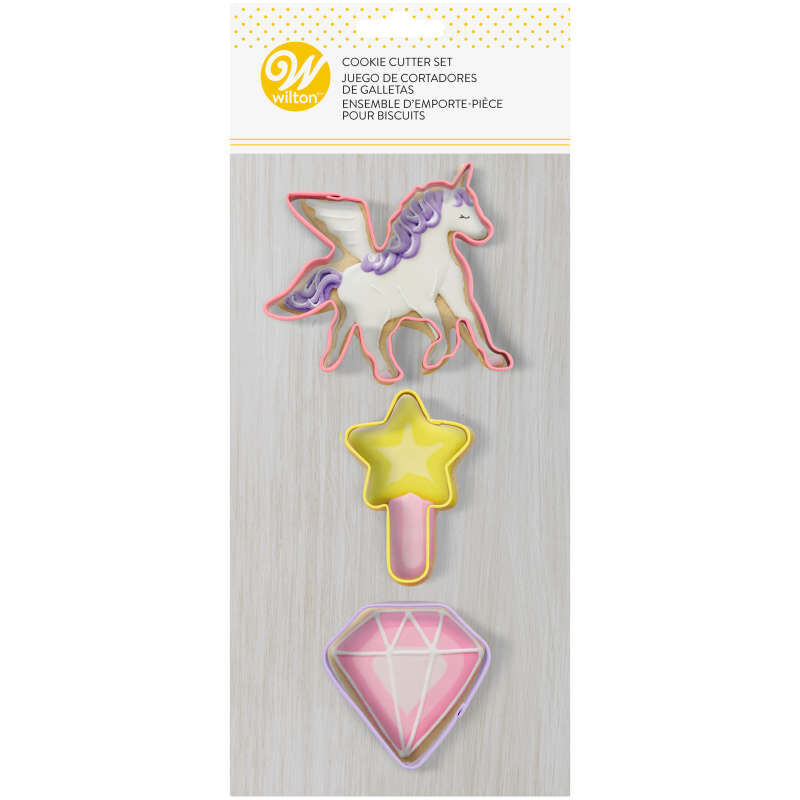 3-Piece Magical Birthday Cookie Cutter Set (Unicorn, Magic Wand, Diamond) image number 0