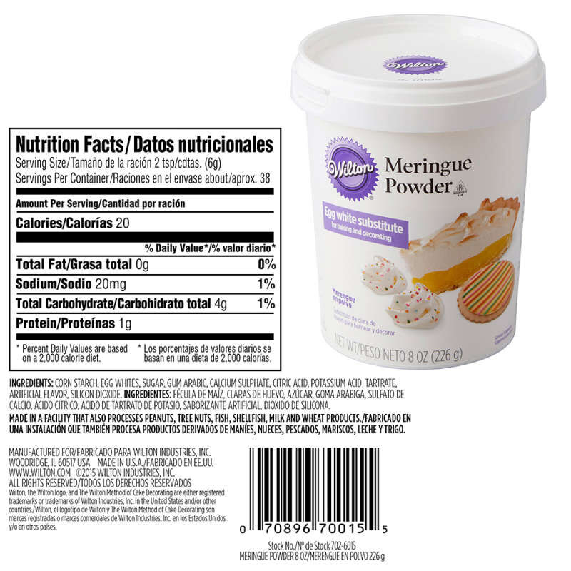 Meringue Powder Nutrition Facts and Ingredients Statement image number 2